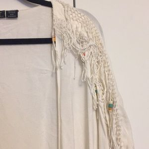 Fringe and beaded cardigan with pockets!
